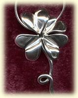 Small and Large Four Leaf Clover-Silver Chain