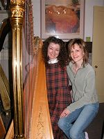Elizabeth Jane Baldry and her lovely Fairy Harp with Myrea Pettit of Fairies World