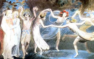 Titania, Oberon and Puck by William Blake, c.1785, Copyright© 2004 Allen W. Wright